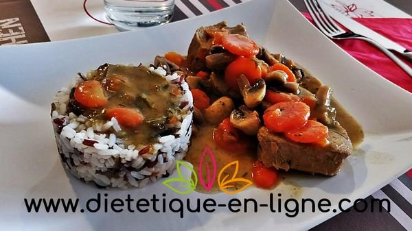Assiette Équilibre Alimentaire : blanquette de veau et riz