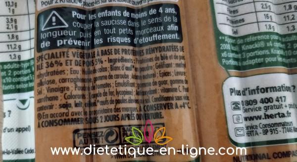 Ingrédients des knackis végétales