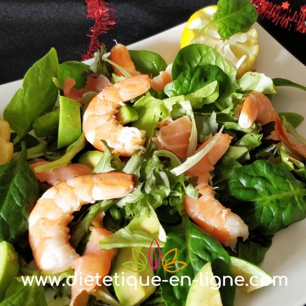 Recette Salade de Noël au Saumon Fumé