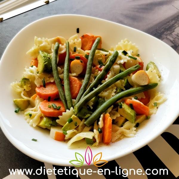 Salade de Pâtes au Surimi (Bâtonnets de Crabe) - Diététique En Ligne