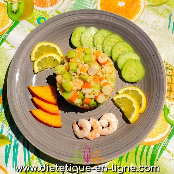 Salade de Riz Exotique (Mangue, Avocat, Crevette) - Diététique En Ligne